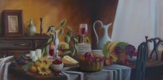 """Saatchi Art Artist ΑγγελικΗ  Aggeliki; Painting, """"After meal"""" #art Oil on Canvas.  Size: 40 H x 80 W x 1 cm"""