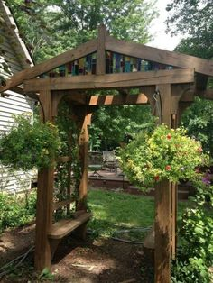 The pergola kits are the easiest and quickest way to build a garden pergola. There are lots of do it yourself pergola kits available to you so that anyone could easily put them together to construct a new structure at their backyard. Rustic Arbor, Wooden Arbor, Rustic Garden Decor, Rustic Gardens, Gazebos, Arbors Trellis, Trellis Ideas, Casas Containers, Building A Pergola