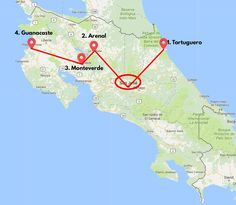 2 weeks in Costa Rica itinerary map