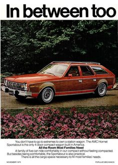 AMC Hornet station waggon | 1975 AMC Hornet wagon ad from Popular Mechanics - My Momma had one just like this one....