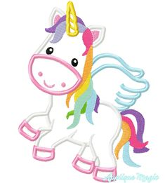 Unicorn with Wings Birthday Machine Embroidery Pattern 4x4  5x7 6x10 7x11 INSTANT DOWNLOAD Machine Applique Designs, Machine Embroidery Patterns, Unicorn Wings, Different Types Of Fabric, Rainbows, Unicorns, Your Design, 4x4, Pattern Design