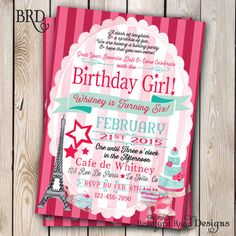 American Girl Grace Inspired Birthday Invitation American Girl in Paris Baking Party 5x7 Printable Doll Party Doll Birthday French Pastries