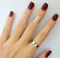9 Above the Knuckle rings Silver knuckle ring Stacking by Lalinne