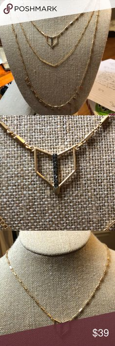 Stella & Dot Tera Layering Necklace Delicate gold finish layering necklace, or wear as a single strand the handset black diamond crystals type Pendent.  New, never worn!! Stella & Dot Jewelry Necklaces