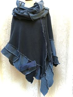 Up Cycled Blue Cotton Poncho by Dana Murphy Designs