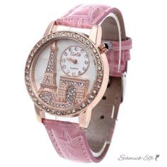 Damen Armbanduhr 3D Paris mit Strass  Rosegold rosa