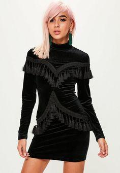 Missguided - Black Tassel Front Velvet Dress
