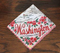 Vintage State Souvenir Handkerchief by Boutiqueatthebusybee
