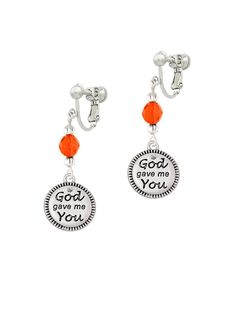 God Gave Me You Czech Glass Bead Clip On Earrings ** Want to know more, click on the image. (This is an affiliate link and I receive a commission for the sales)