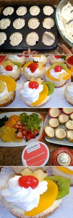 Recipe dessert tasty 44 new ideas Mini Cheesecakes, Mini Desserts, Delicious Desserts, Mexican Food Recipes, Dessert Recipes, Cheesecake Cake, Healthy Snacks For Diabetics, Alcohol Recipes, Cupcake Cakes