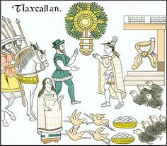 Tlaxcala Culture: Universal History. Hernán Cortés in meeting with Tlaxcaltecas messengers. Their conversation is translated by La Malinche .