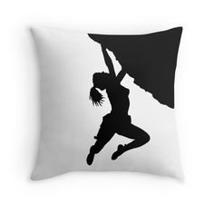girl bouldering silhouette | Throw Pillow