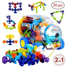 Educational toys by BLAGOO Building Blocks for Boys  Girls 3 4 5 6 7 Years Old for Kids Toddlers Suction Silicone 7 Colors 26 pcs Car Set Jumbo Size * You can get more details by clicking on the image.