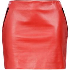 Barbara Bui Skirt (£730) ❤ liked on Polyvore featuring skirts, mini skirts, red, short red skirt, short mini skirts, mini skirt, red leather skirt and zipper skirt