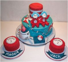 Dr. Seuss cake thing one thing two cake sweets thing 1 thing 2 party birthday Katherine (2) & Gabriel (1)