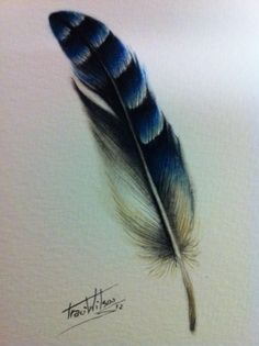 blue jay feather for my sister Cover Up Tattoos, Cool Tattoos, Small Tattoos, Tatoos, Blue Jay Tattoo, Jay Feather, Bluebird Tattoo, Watercolor Feather, Watercolour