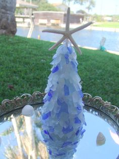 Seaglass Tree with White Finger Starfish Top- your choice of color/ Coastal Christmas Sea Glass Tabletop Tree/ Beach, Nautical Holiday Decor on Etsy, $42.00