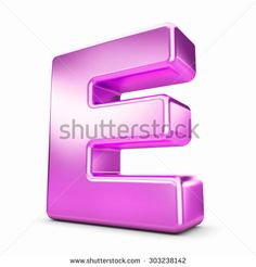 3d pink purple metal letter E isolated white background