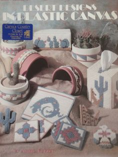 Leisure Arts Desert Designs in Plastic Canvas Pattern Leaflet 1264 with Tissue Box Cover Art Plastic, Plastic Canvas Books, Plastic Canvas Coasters, Plastic Canvas Crafts, Plastic Canvas Patterns, Tissue Box Covers, Tissue Boxes, Desert Design, Stitch Magazine