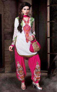 USD 35.77 White Cotton Silk Punjabi Suit 48011