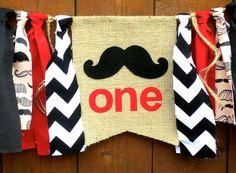 Mustache Bash Birthday Banner Highchair High by SeacliffeCottage