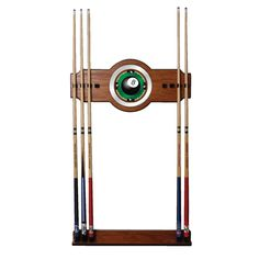 Trademark Commerce RAC6000-8 8-Ball Rack'em 2 piece Wood and Mirror Wall Cue Rack