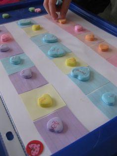 Candy Heart Patterns   valentine math games for kids #weteach My Funny Valentine, Valentine Theme, Valentines For Kids, Valentine Day Crafts, Valentine Games, Valentine Ideas, Holiday Crafts, Math Activities For Kids, Fun Math Games