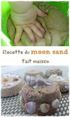 Retrouvez notre recette de moon sand (sable à modeler). Une super activité sensorielle et artistique, qui allie les joies du slime et de la pâte à modeler.