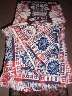 Antique 1848 Joln Latourette Three Color Jacquard Double Weave 3 Color Coverlet | eBay