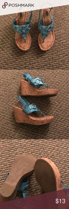 Dr. Scholl's thong styled wedge sandals. Size 6. Dr. Scholl's thong styled wedge sandals. Turquoise color. Size 6. Man made material. Cork screw look. Dr. Scholl's Shoes Sandals