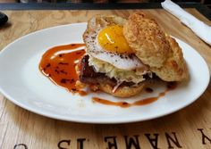 The Wandering Goose in Seattle. This place is going on my list! They have a Biscuit of the Day! This one was smoke brisket, coleslaw, BBQ sauce and a fried duck egg all on a biscuit.