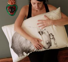 Wombat Pillowcase with Girl, facing Right.. $35.00, via Etsy.