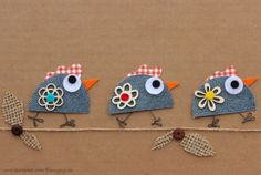 Chicks taking a little walk. Jean Crafts, Denim Crafts, Diy And Crafts, Crafts For Kids, Arts And Crafts, Paper Crafts, Wool Applique, Applique Patterns, Arte Punch