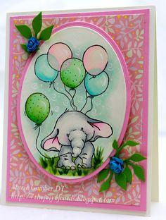 Copic card using the Wild Rose Studio - Bella with Balloons stamp.  Made by Marie