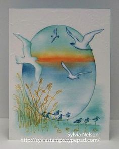 handmade card by Sylvia Nelson ... pretty beach scene ... Wetlands birds and grass ... Impression Obssession sea birds die ... stamping and spongin ... gorgeous card! ...  Stampin' Up!