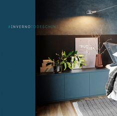 Cor azul escuro + madeira Gabriel, Bathroom Lighting, Mirror, Furniture, Home Decor, Dark Blue Colour, Wood, Colors, Bathroom Light Fittings