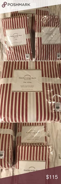 Pottery Barn Duvet / shams -King Pottery Barn new in package Red Thatcher stripe King Duvet with two king shams.  100% cotton, machine washable. pottery barn Other