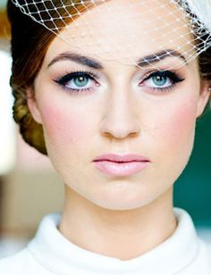 Wedding makeup with white eyeliner