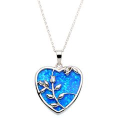 La Preciosa Sterling Silver Created Blue Opal Rose in Heart Pendant ($34) ❤ liked on Polyvore featuring jewelry, necklaces, accessories, blue, opal pendant, blue opal jewelry, pendant jewelry, rose jewellery and heart jewelry