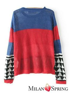 Geometry Color matching Long sleeve Hollow Knitted sweater