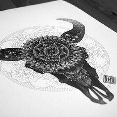 Bull skull with pattern