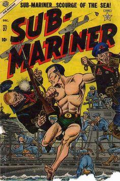 Sub-Mariner Comics #37 (Dec '54) cover by Joe Maneely. #Namor