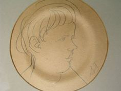 Image of drawing Portrait of Quentin Bell Clive Bell, Duncan Grant, Vanessa Bell, Bloomsbury Group, Matisse, Pencil, Home And Garden, Plate, Pottery