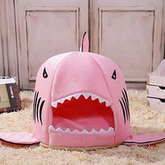 Shark Bed for Small Cat Dog Cave Bed Removable Cushionwaterproof Bottom Most Lovely Pet House Gift for Pet  S Pink >>> More info could be found at the image url. Note: It's an affiliate link to Amazon.