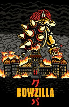 """""""BOWZILLA"""" by MEKAZOO The biggest Koopa is awaken and knows where to destroy first Bowser in the style of Godzilla Watch Adventure Time, Super Mario Art, Amazing Spiderman, Video Game Art, Video Games, Pixel, Mario Bros, Mario Brothers, Godzilla"""