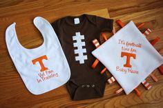 University of Tennessee Vols Baby Gift Set, Blanket, Bodysuit, Bib on Etsy. I need this one day!