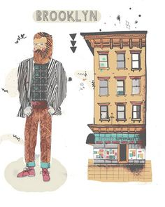 James Gulliver Hancock, an illustrator originally from Australia currently based in Brooklyn has set out to draw all the buildings in New York City. Edificio Flatiron, Brooklyn Hipster, Brooklyn Style, Illustrator, Jacky Winter, Empire State Of Mind, House Drawing, The Design Files, City Art