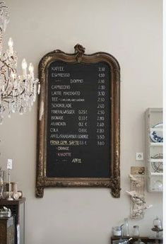 paint a black chalk board + add a vintage decor frame as a message or menu board