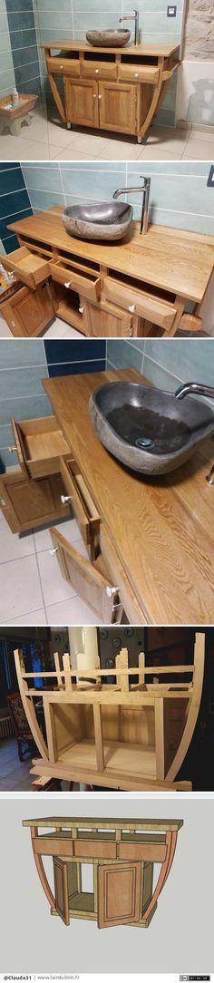 Autel de Salle de Bains par Claude31 - Bonjour, Après avoir recherché en vain un meuble de salle de bains qui nous plaisait, j'ai décidé de le fabriquer.Je me suis inspiré d'une photo d'une enfilade réalisée par Samuel Geneslay créateur de meuble.Il ressemble à un a[...]