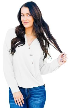 Surplice Button Trio Top looks simple but unusual,it's elegant and stylish from the design and colors,wholesale from dear-lover. Online Clothing Stores, Women's Clothing, White Long Sleeve, Colorful Shirts, Clothes For Women, Sleeves, Button, Fashion Styles, Latest Fashion